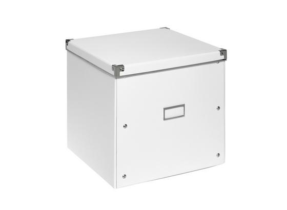Box Úložný Lorenz - bílá, kov/karton (33/33/31cm) - Mömax modern living