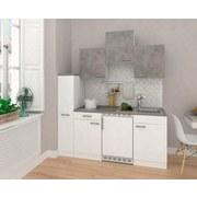 Küchenblock Economy B: 180 cm Weiß/Beton - Hellgrau/Weiß, MODERN, Holzwerkstoff (180cm) - MID.YOU