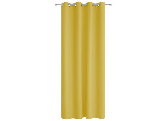 Ösenvorhang Alena - Goldfarben, KONVENTIONELL, Textil (140/245cm) - Ombra