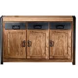 Sideboard Akazie Massiv 140cm, Naturfarben - Schwarz/Naturfarben, Basics, Holz/Metall (140/90/40cm)