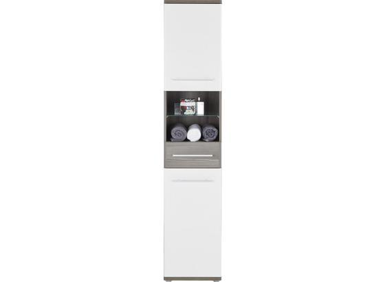 Vysoká Skříň Santorin - bílá/tmavě hnědá, Konvenční, kompozitní dřevo (40/195/35cm)
