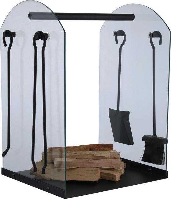 Holzlege Göran mit Kaminbesteck 4-tlg. - Transparent/Schwarz, Glas/Metall (61cm)