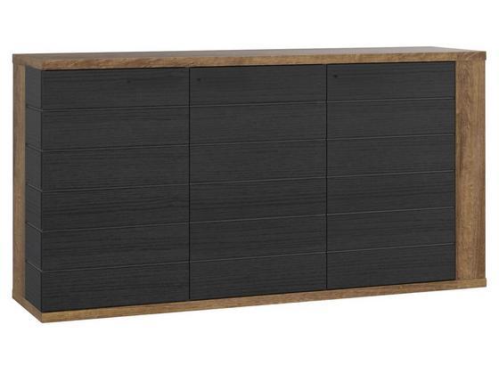 Komoda Lacjum - farby dubu, Konvenčný, kov/kompozitné drevo (161,5/85,1/41,6cm)