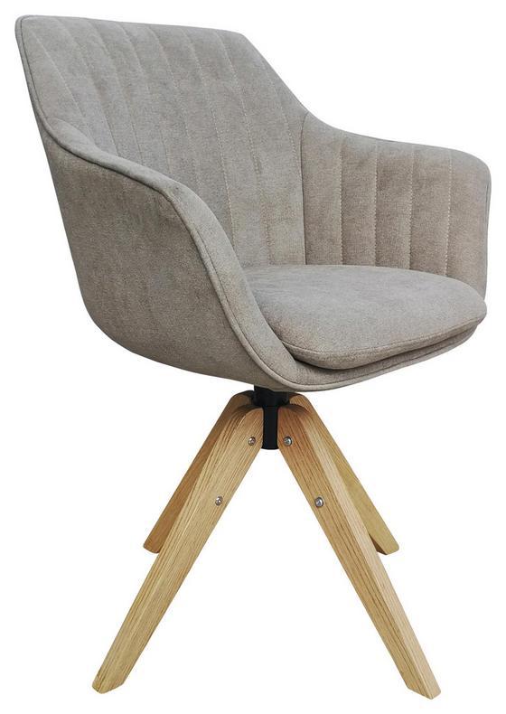 Drehstuhl Belluno Greige - Greige/Eichefarben, MODERN, Holz/Textil (60/88/57,5cm) - Luca Bessoni