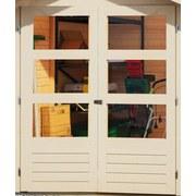 Gartenhaus mit Anbaudach Sandfarbe 482x211x217cm - Sandfarben, Holz (482/211/217cm) - Karibu