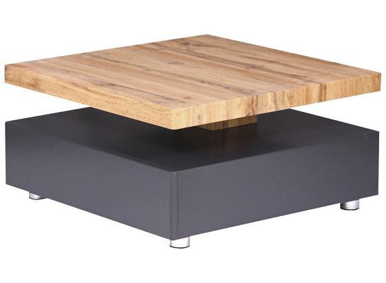 Couchtisch Holz mit drehbarer Platte Square, Eichendekor - Eichefarben/Grau, MODERN, Holzwerkstoff/Metall (70/36/70cm)