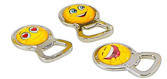 Flaschenöffner Smiley-serie - Gelb/Silberfarben, KONVENTIONELL, Glas/Metall (6,4/4/1cm)