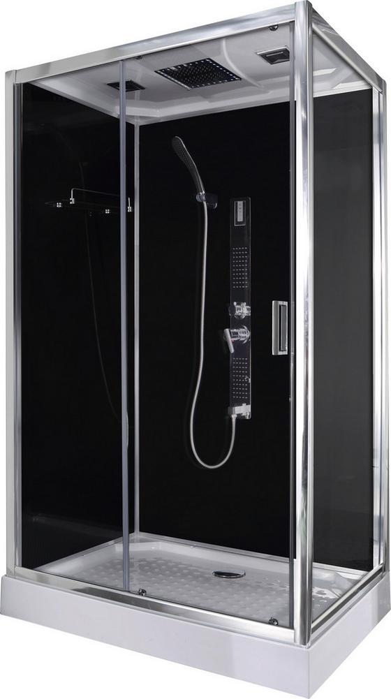Duschkabine Design 3 - Chromfarben/Schwarz, MODERN, Glas/Metall (120/80/210cm)