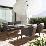 Záhradná Súprava Alla - sivá, Moderný, umelá hmota/kov - Modern Living