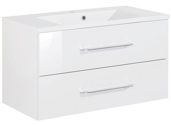 Waschtischkombi B.clever 90 cm Weiß - Weiß, MODERN, Holzwerkstoff/Kunststoff (90/51/46cm) - Fackelmann