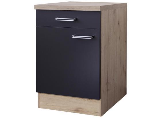 Kuchyňská Spodní Skříňka Milano - barvy dubu/antracitová, Moderní, kompozitní dřevo (60/86/60cm)