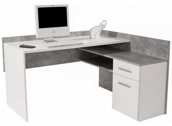 Schreibtisch Moni Zd01 - Weiß/Grau, MODERN, Holzwerkstoff (140,6/81,3/123,6cm)