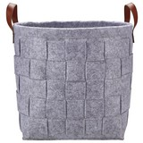 Regalkorb Alberich L - Braun/Grau, ROMANTIK / LANDHAUS, Leder/Textil (34/31cm) - James Wood