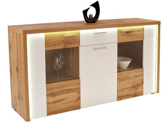 KOMODA SIDEBOARD ELEGANZA - farby dubu/biela, Moderný, kompozitné drevo/sklo (179,9/87.3/38cm)