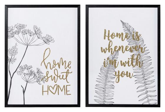 Bild Home, 50x70 cm - Goldfarben/Schwarz, MODERN, Metall (50/70/2,3cm)