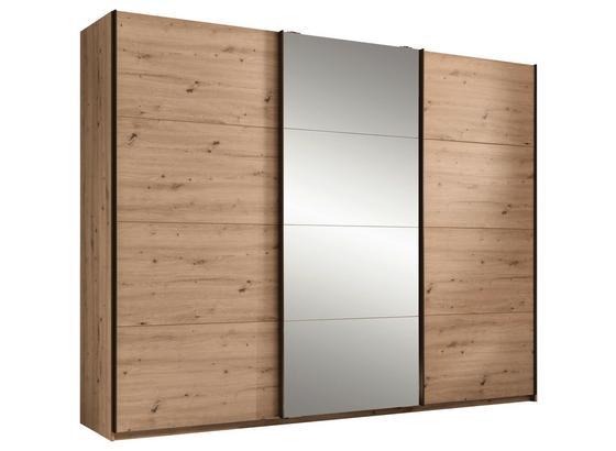 Schwebetürenschrank Orlando B:270cm Eiche Dekor/spiegel - Eichefarben/Bronzefarben, MODERN, Glas/Holzwerkstoff (270/210/60cm)