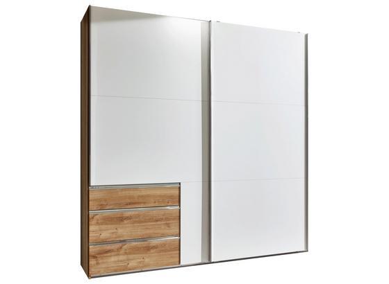 Schwebetürenschrank mit Schubladen 250cm Level 36a - Eichefarben/Weiß, MODERN, Holzwerkstoff (250/216/65cm)
