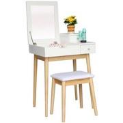 Schminktisch B: 60 cm + Hocker Weiß - Naturfarben/Weiß, Basics, Holz/Holzwerkstoff (60/125,5/50cm)