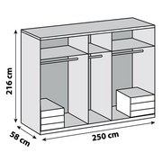 Drehtürenschrank Level 36a B:250cm Alpinweiß Dekor - Weiß, MODERN, Holzwerkstoff (250/216/58cm)
