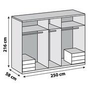 Drehtürenschrank Level 36a B:250cm Graphit/ Eiche Dekor - Eichefarben/Graphitfarben, MODERN, Holzwerkstoff (250/216/58cm)
