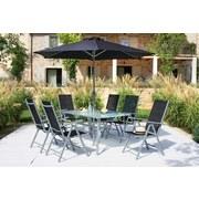 Gartenset Celine 8-Teilig inkl. Sonnenschirm - Anthrazit/Silberfarben, KONVENTIONELL, Glas/Kunststoff - Ombra