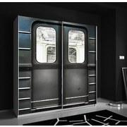 Schwebetürenschrank Plakato Metro 170,3 cm - Dunkelgrau/Weiß, MODERN, Holzwerkstoff/Kunststoff (170,3/190,5/61,2cm)
