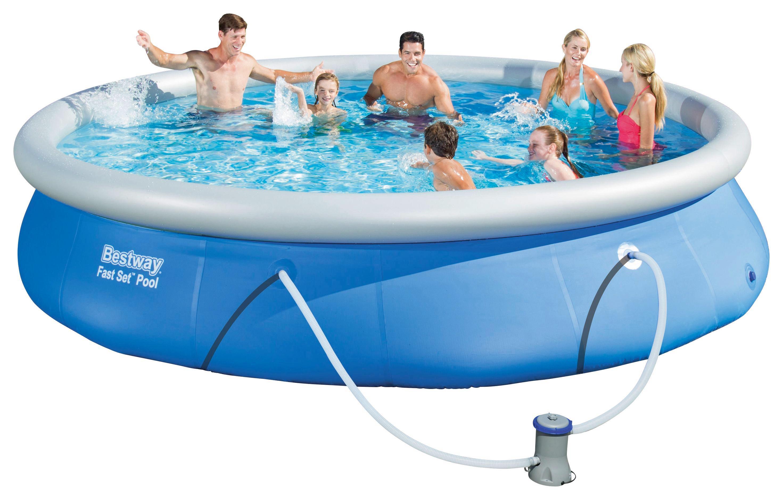 Bestway Schwimmbecken Fast Set Pool 57313   Blau/Weiß, Kunststoff (457/84cm