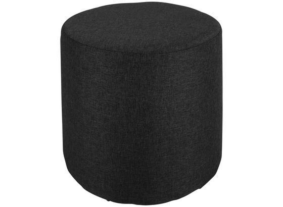 Taburet Leo *cenový Trhák* - černá/světle šedá, Basics, dřevo/textil (33/33cm)