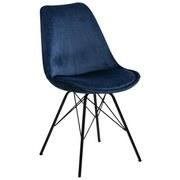 Stuhl Eris Dunkelblau Samt Gepolstert - Schwarz/Dunkelblau, Trend, Textil/Metall (48,5/85,5/54cm) - Carryhome