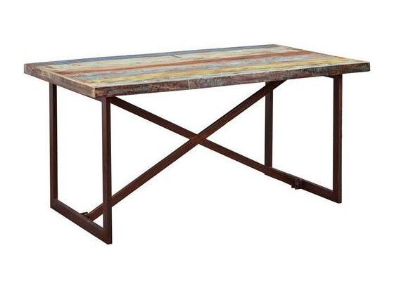 Esstisch Colori B: 160 cm Mehrfarbig - Blau/Rostfarben, Basics, Holz/Metall (160/90/76cm) - Livetastic