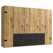 Drehtürenschrank Detroit B: 300 cm Plankeneiche - Eichefarben/Graphitfarben, Basics, Holzwerkstoff (300/216/58cm)