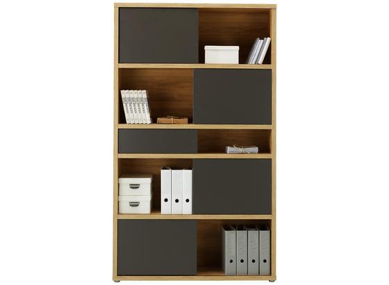 Regál Riga - farby dubu/antracitová, Moderný, kompozitné drevo (116,6/199,8/37cm) - Premium Living