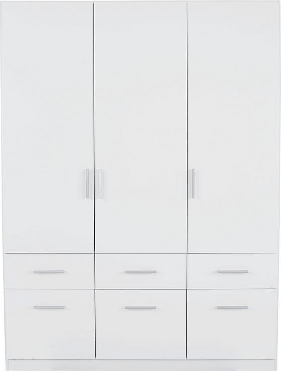 Ruhásszekrény Celle - fehér, modern, fa (136/197/54cm)