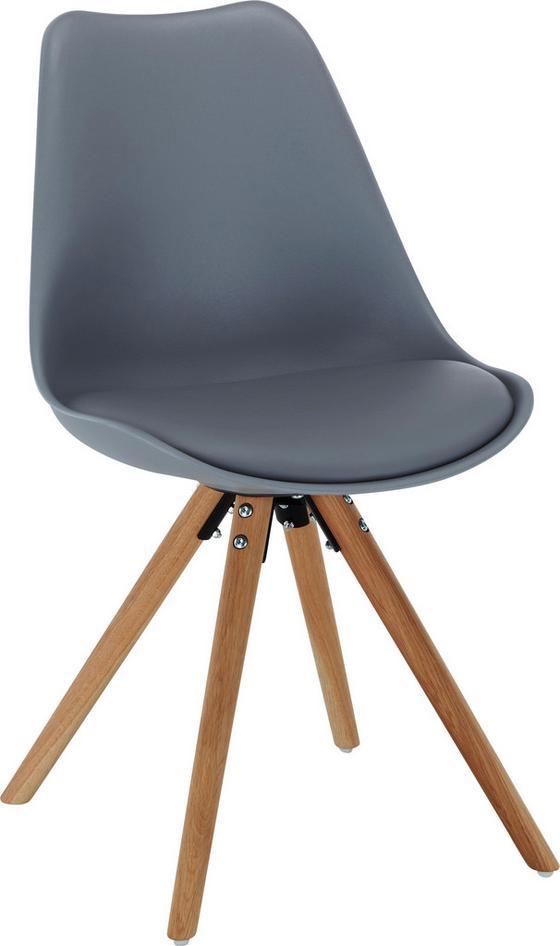 Stolička Lilly - farby dubu/sivá, Moderný, umelá hmota/drevo (47/81/52cm)