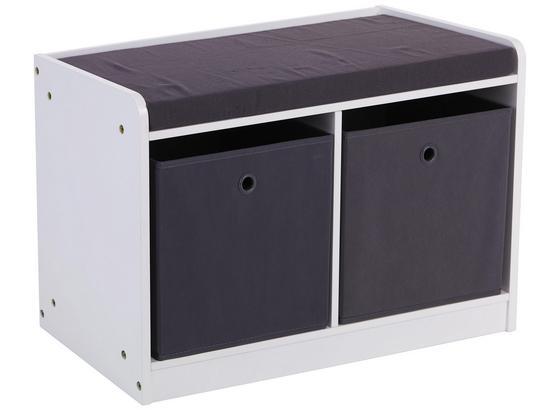 Lavica Oliver - sivá/biela, Moderný, kompozitné drevo/textil (68,5/45/32cm)