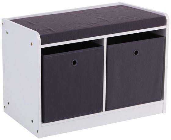 Schuhregal mit Sitzfläche Oliver 68,5cm Weiß/Grau - Weiß/Grau, MODERN, Holzwerkstoff/Textil (68,5/45/32cm)