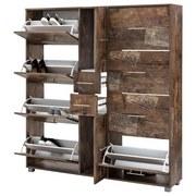 Schuhschrank Pisa - Eichefarben/Silberfarben, Basics, Holzwerkstoff (146,7/163,7/30cm) - MID.YOU