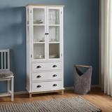 Komoda Nicolo - bílá/hnědá, Moderní, dřevo/sklo (72/175/34cm) - Modern Living