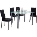 Tischgruppe Wels *ph* - Schwarz/Alufarben, KONVENTIONELL, Glas/Textil (120/75/80cm)