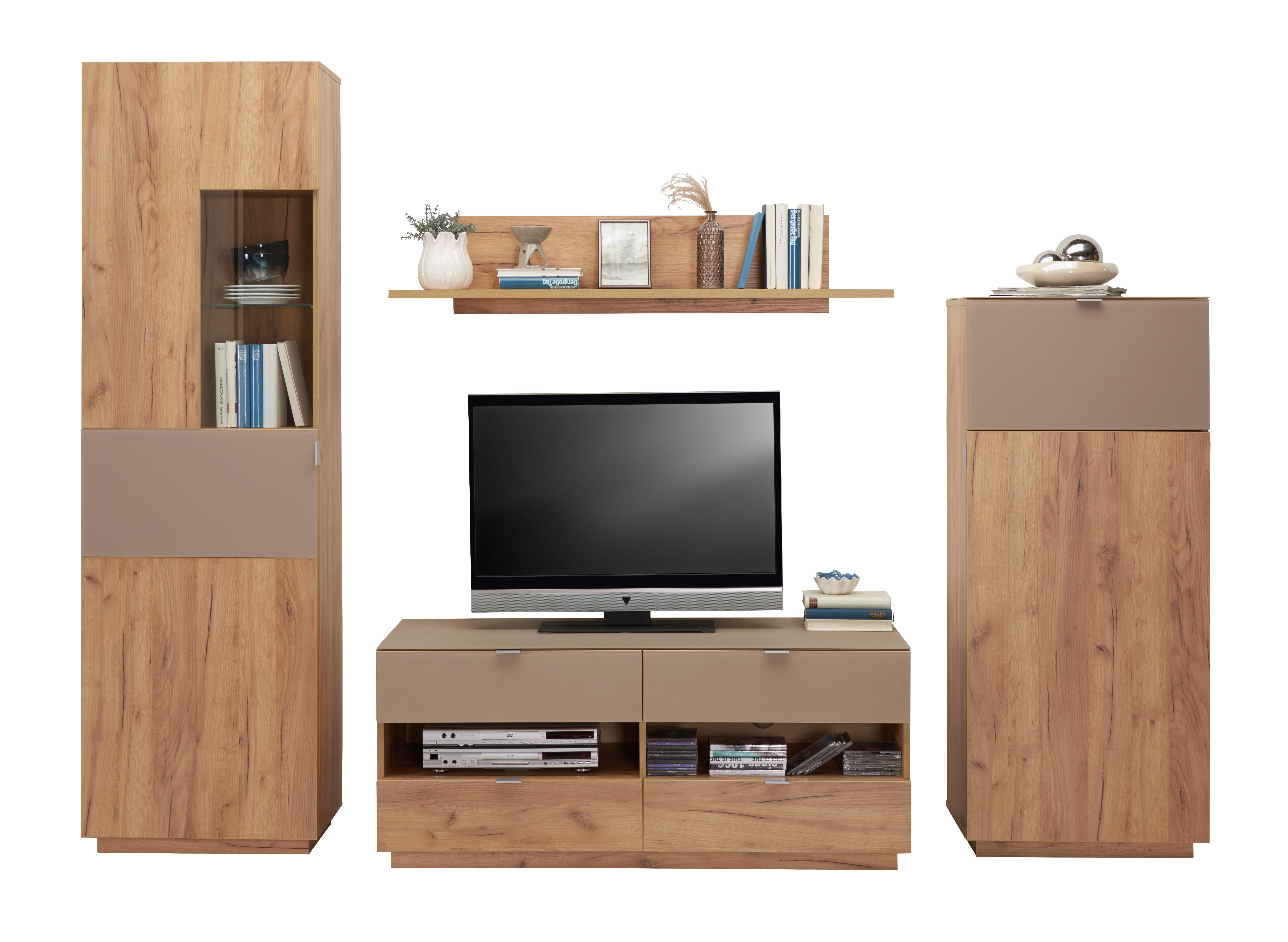 Tv - Elem Contur - tölgy színű, modern, üveg/faanyagok (130/54/52cm)