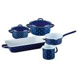 Kochtopfset 0515-074 Email 7-Tlg. - Blau, Basics, Metall (48,5/28,5/24cm) - Riess