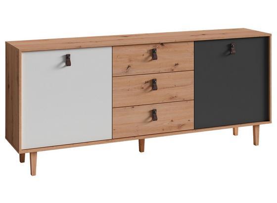 Sideboard B 180cm Bristol, Eiche Dekor/Weiß/Anthrazit - Eichefarben/Anthrazit, MODERN, Holzwerkstoff (180/77/37cm) - MID.YOU