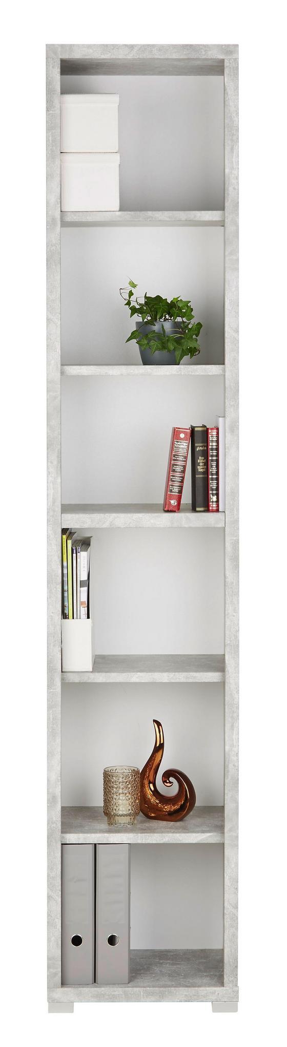 Regál Line4 - bílá/šedá, Moderní, kompozitní dřevo (44/218/36cm)