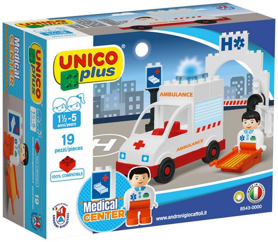 Bausteine Unico Plus Krankenwagen - Rot/Weiß, Kunststoff - Unico Plus