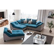 Megasofa Luiz - Wengefarben/Blau, MODERN, Textil (287/74/114cm)