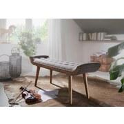 Sitzbank B: 128 cm Grau - Braun/Grau, MODERN, Textil (128/51/38cm) - MID.YOU