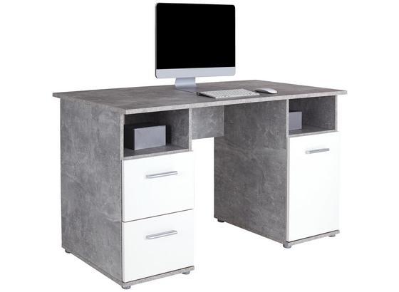 Schreibtisch Leon 3 Zd 21 - Weiß/Grau, MODERN, Holzwerkstoff (138/76/60cm)