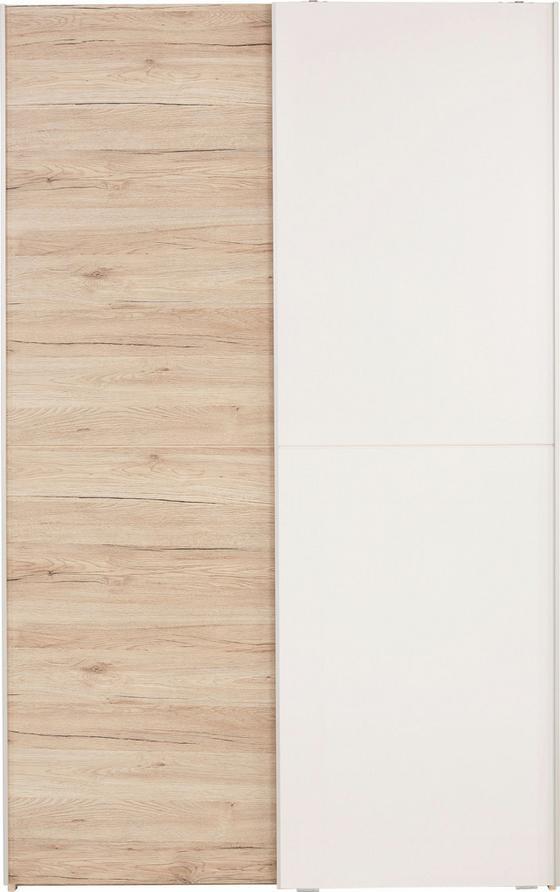 Szekrény Heimo - tölgy színű/fehér, konvencionális (125/195/38cm)