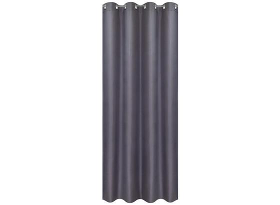 Ösenvorhang Barnaby - Silberfarben, KONVENTIONELL, Textil (140/245cm) - Ombra