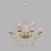 Kronleuchter Basilano H: 150 cm 12-Flammig, Royales Design - Chromfarben/Champagner, MODERN, Glas/Metall (100/150cm)